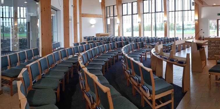 Bierton Crematorium view inside chapel showing chairs